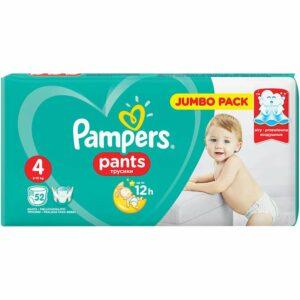 Гащички Pampers Jumbo Pack Размер 4 Макси 52 бр