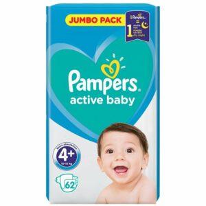 Пелени Pampers Jumbo Pack Maxi Plus 10-15 кг 62 бр