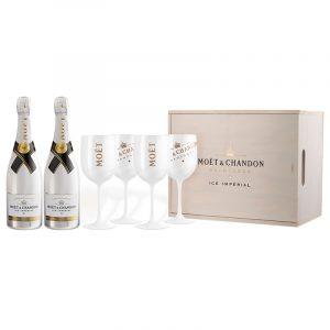 Шампанско Moet & Chandon Ice Imperial 2x750 мл с дървена кутия и 4 бели чаши